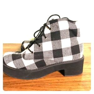 Asos Buffalo plaid ankle boots